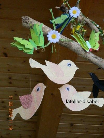 oiseaux,papier,mobile,suspension